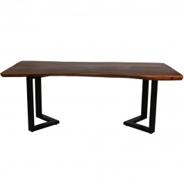Industrial Live Edge Solid Wood  Dining Table Chocolate Brown