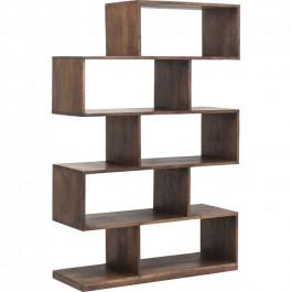 Boston Silver Contemporary Solid Wood Zig Zag Shelving Bookshelf 100x150cm