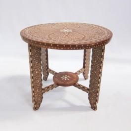 Maaya Bone Inlay Round Side Table Brown Floral