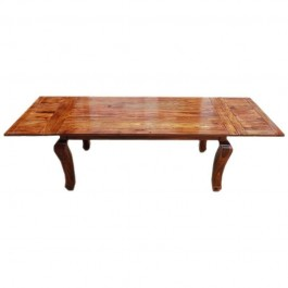Boston Rustic Wood Extension Cabriole Legs Dining Table Honey