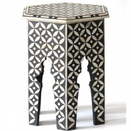 Maaya Bone Inlay Round Side Table Black Geometric