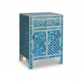 Maaya Bone inlay Geometric bedside Cabinet lamp table