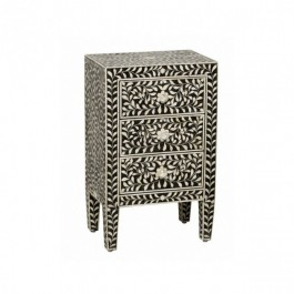 Maaya Bone Inlay Bedside Cabinet Table Black Floral