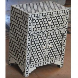 Maaya Bone Inlay Bedside Cabinet Table Black Geometric