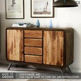 Industrial Metal Solid wood 4 Drawers 2 Door Sideboard 1.5M