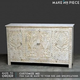 Floral Carved Solid wood Sideboard White 1.6M
