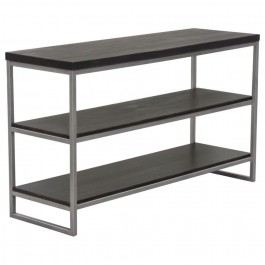 Dark Brown 3-Tier Console Shelf Silver Metal Frame