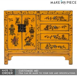 Antique Hand Painted Sideboard Yellow