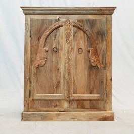 Antique Indian old door carved Cabinet Sideboard console NATURAL 90x40x117cm
