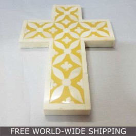 Real Bone Inlay Wall Decor Cross YELLOW