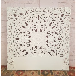 Floral Beautiful Hand Carved Indian Solid Wood Bed Panel White