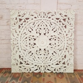 Floral Beautiful Hand Carved Indian Solid Wood Bed Panel White Wash