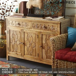 Floral Hand Carved Solid wood Sideboard Natural 1.5m