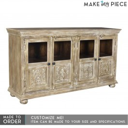 Hand Carved Glass Door solid wood Sideboard Whitewash