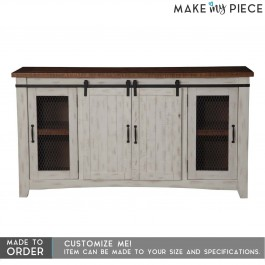 French solid wood Metal Jali Sliding Door Sideboard White