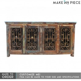 Reclaimed wood Metal Curly Jali large Sideboard 180cm