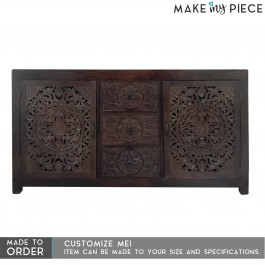 French Carved Solid wood Sideboard Chocolate Brown