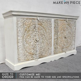 Paris INDIAN hand Carved console Sideboard White