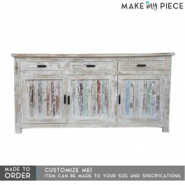 Solid Wood Hand carved 3 Doors Buffet Sideboard Whitewashash 150x40x90cm