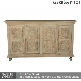 Hand Carved Solid Wood 4 Doors Buffet Sideboard Natural 180x40x90cm