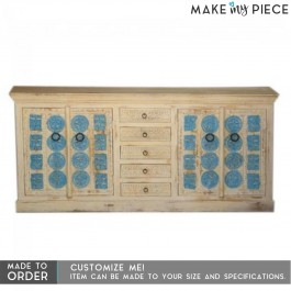 Hand Carved Solid Wood 4 Doors 6 Drawer Buffet Sideboard Natural 180x40x90cm