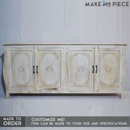 Hand Carved Solid Wood 4 Doors Buffet Sideboard Whitewash 180x40x90cm