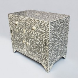 Maaya Bone Inlay Chest of Drawer sideboard Grey and White