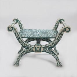 Maaya Bone Inlay Seating Chair White Blue Floral Pattren