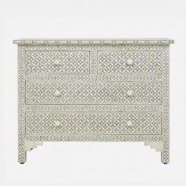 Maaya Bone Inlay Chest of Drawer sideboard Grey White
