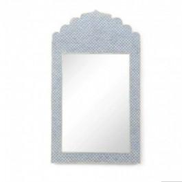 Maaya Bone Inlay Mirror Frame Blue Geometric Pattren