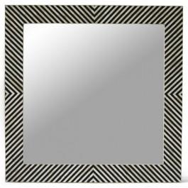 Maaya Bone Inlay Mirror Frame Black Geometric Pattren