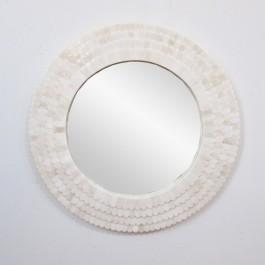 Maaya Bone Inlay Round Mirror Frame White 60cm