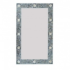 Maaya Bone Inlay Mirror Frame Grey White Floral Pattren