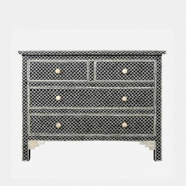 Maaya Bone Inlay Chest of Drawer sideboard Black