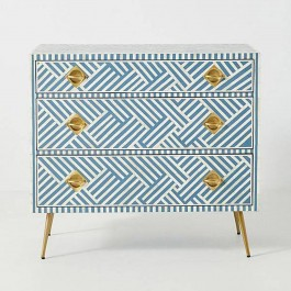 Maaya Bone Inlay Chest Of Drawer Blue White Geometric