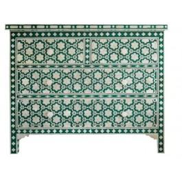 Maaya Bone Inlay Chest of Drawer sideboard Green Floral
