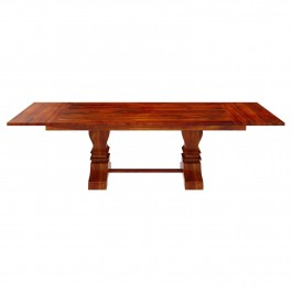 Boston Solid Wood Large Trestle Pedestal Extendable Dining Table Honey Brown