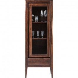Boston Taper Contemporary Solid Wood Display Cabinet 1 Doors 1 Drawer Walnut