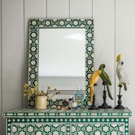 Maaya Bone Inlay Mirror frame Green Floral