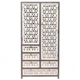 Floral Hand Carved Indian Wooden Wardrobe Cabinet With Drawers White