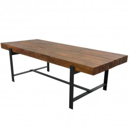 Industrial Rustic Solid Wood & Iron Base Large Dining Table Brown