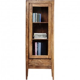 Boston Taper Contemporary Solid Wood Display Cabinet 1 Doors 1 Drawer Natural