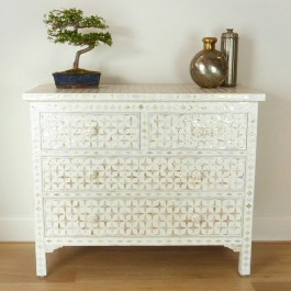Mother of Pearl chest of Drawer sideboard White