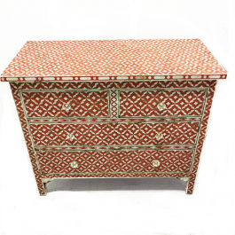 Mother of Pearl Terracotta Semi Geo chest of Drawer sideboard