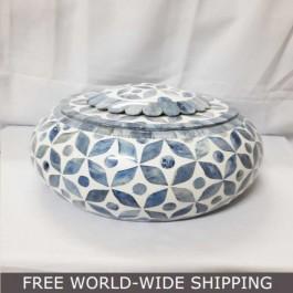Real Bone Inlay Designer Luxury oval Jewellery Box Gift storage BLUE Floral