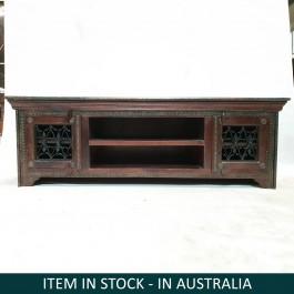 Indian Antique Solid Wood Brass TV UNIT Metal Jali Doors 150x50x50cm