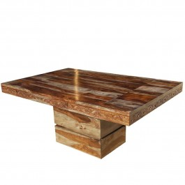 Square Pedestal Solid Wood Extendable Table Brown