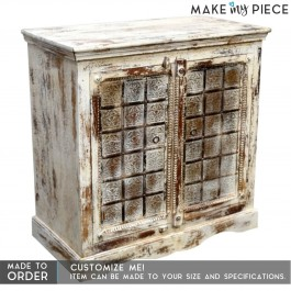 Antique Brass Carved solid wood White Rustic Sideboard