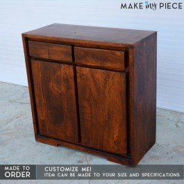 Contemporary Solid wood Small Sideboard Chocolate Brown 100cm