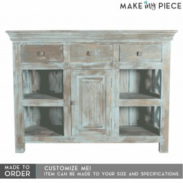 Contemporary X design solid wood Sideboard Rustic Blue